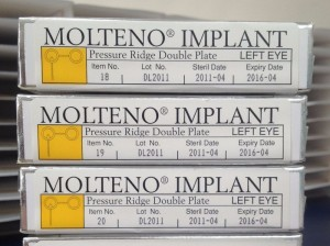 Molteno® Pressure Ridge, Double Plate Implant boxes, left eye, DL2