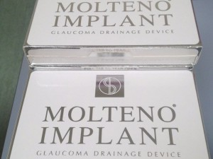 Molteno® Glaucoma Implant boxes top view with silver logo